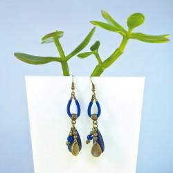 boucles d'oreilles bronze suedine bleu