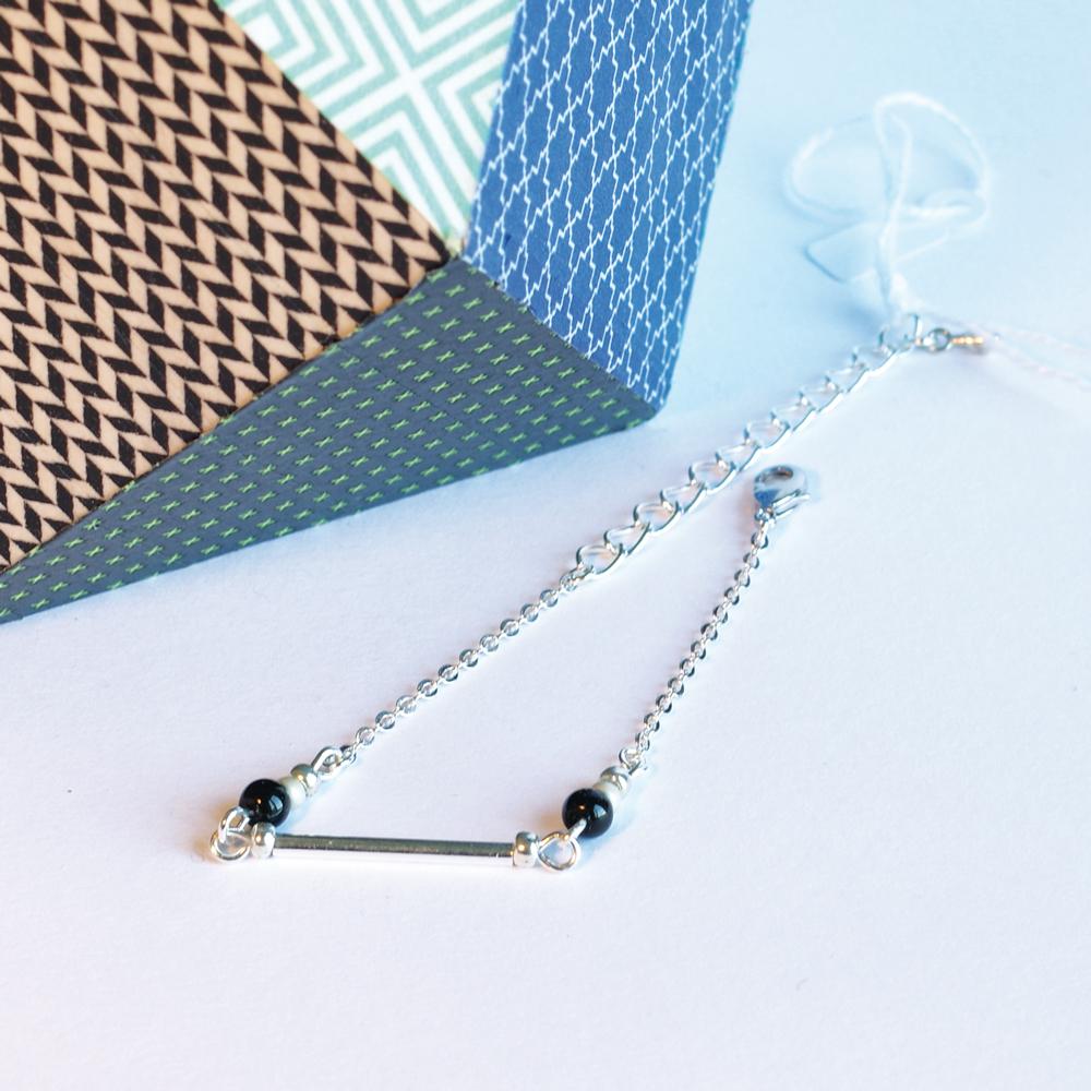 Bracelet-argent-perle-noire
