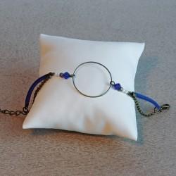Bracelet bronze et suédine bleu