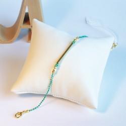 Bracelet chaîne vert et doré