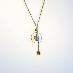 Collier pendentif bronze perle marbrée