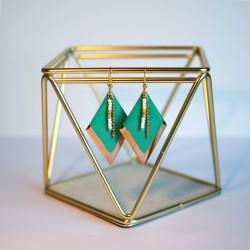 Boucles d'oreilles losanges turquoises et perles de rocaille