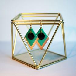 Boucles d'oreilles dorées losange turquoise et breloque noire