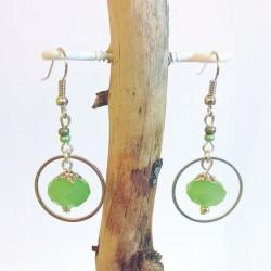 Boucles d'oreilles perle à facettes vertes