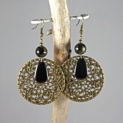 Boucles d'oreille estampes bronze & noir