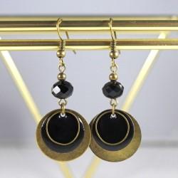 Boucles d'oreilles sequins bronze & noir