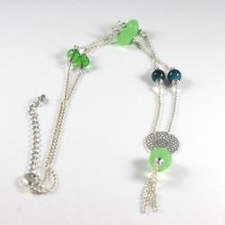 Collier argent perles vertes