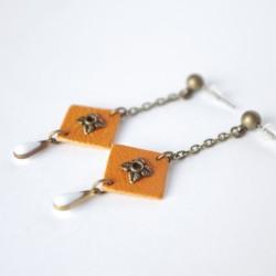 Boucles d'oreilles bronze et cuir orange