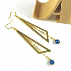 Boucles d'oreilles triangles et sodalite