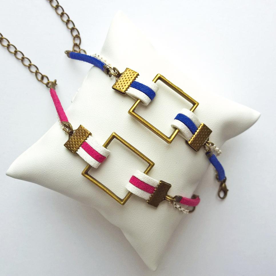 Bracelets suédine et breloque carrée