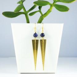 Boucles d'oreilles dorées et perle lapis lazuli