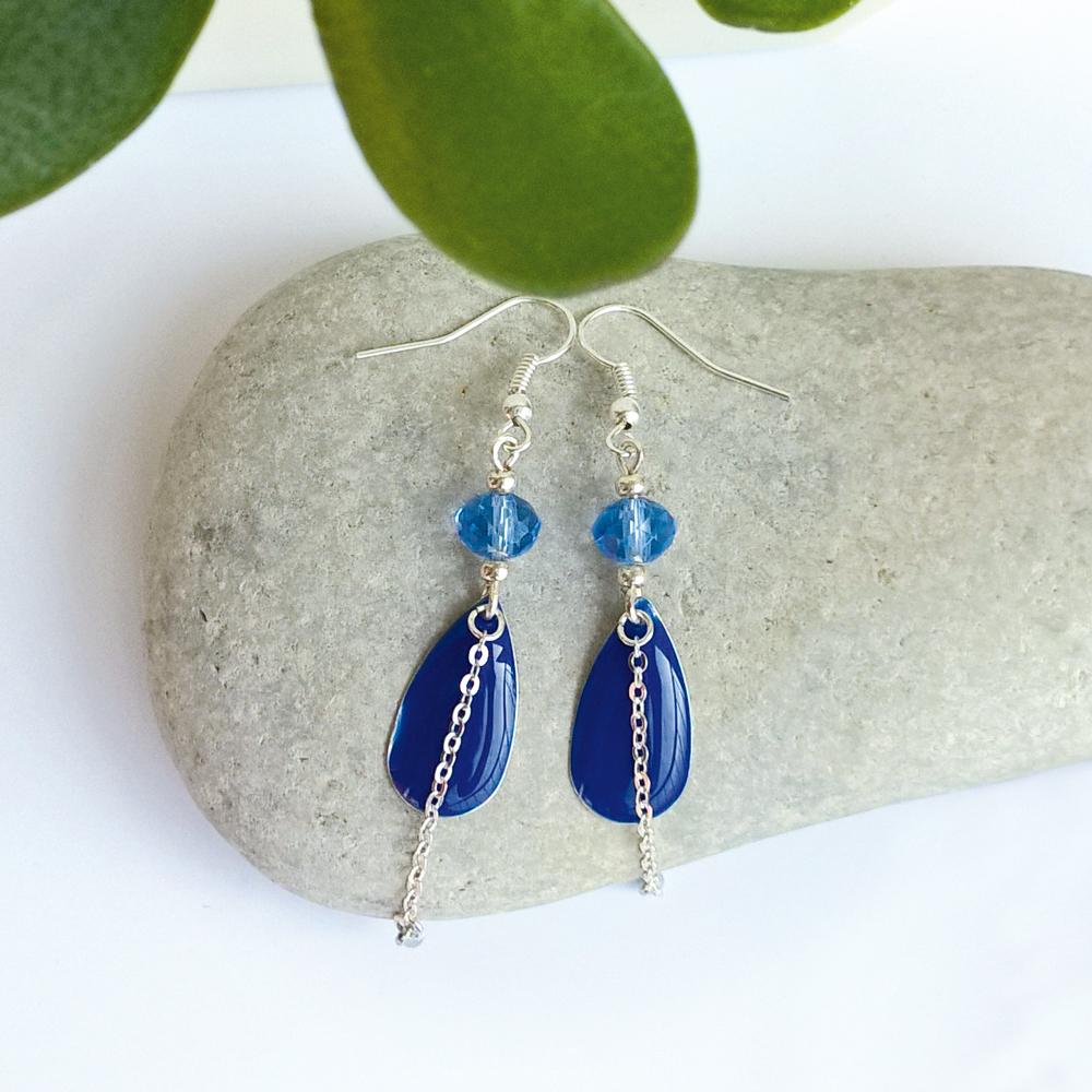 Boucles d'oreilles argent sequins bleus